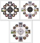 Modern Collage Photo Family Picture Stylish Frame Time Wall Clock Home Decor