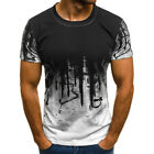 Mens Short Sleeve T Shirt Slim Fit Casual Tops Clothing Bodybuilding Muscle Tees