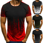 Mens Short Sleeve T Shirt Slim Fit Casual Tops Clothing Bodybuilding Muscle Tees image