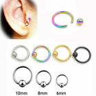 Nose Ring With Ball Silver Hoop 6mm 8mm Thin Piercing Stud Body Jewellery Gold