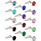 STERLING SILVER ANDRALOK NOSE STUDS SINGLE EARRING 3.0MM CUBIC ZIRCONIA CZ PINS