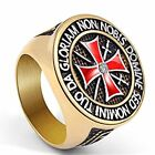 NEW Mens Womens 316L Stainless Steel Vintage Knight Templar Cross Ring Size 8-14
