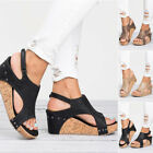 SEXY Women Wedge Heels Ladies Summer Platform Sandals Open Toe Chunky Shoes Size