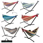 Double Hammock Bed with Steel Stand Camping Bed Garden Outdoor Swing Chair w/Bag