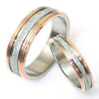 FREE ENGRAVE Gold Matching Wedding Engagement Bands Titanium Rings Set Sz4-14.5