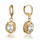 18K Yellow Gold Filled Oval Cut Dangle Earrings with Gemstone Crystal 186-185