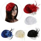 Fascinator Hats Headband Womens Feather Flower Brides Hair Accessories Wedding