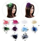 Внешний вид - Women Bridal Mesh Bow Feather Beads Wedding Fascinator Dot Veil Hair Clip Brooch