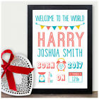 Personalised Welcome To The World Birth Details Gifts Newborn Baby Girls Boys