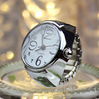 1pcs Womens Men Dial Quartz Analog Finger Watch Creative Steel Ring Watch Lovers