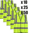BULK MULTI BUY Yellow Hi Vis Viz Vest High Visibility Safety X5 X10 X25 X50 X100