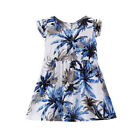 Summer Kids Child Baby Girl Leaf Floral Fly Sleeve Sundress Dress Casual Clothes