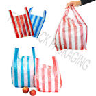 NEW Medium CANDY STRIPE Plastic Vest Carrier Bags 10