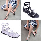 Womens Ladies Flip Flop Caged Gladiator Sandals Studs Holiday Summer Shoe Size