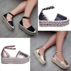 Womens Ladies Studded Flatform Wedge Espadrille Sandal Summer Holiday Shoe Size