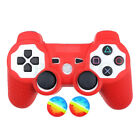 Rubber Silicone Skin Case Cover + Joystick Thumbstick Caps For PS3 Controller
