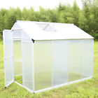 6'x4'/6'/8' Outdoor Aluminum Polycarbonate Roof Vent Walk-in Nursery Greenhouse