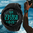 Men's Boys Silicone LCD Digital Display Waterproof Date Rubber Sport WristWatch