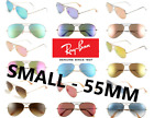 New SMALL 55MM Ray Ban Sunglasses RB3025 Aviator Gold Frame