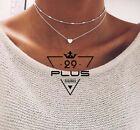 Classic Women Love Heart Pendant Double Layers Chain Necklace Choker Jewelry Au