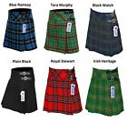 Внешний вид - Ladies Women's Girls 4 Tartan Pleated Billie Kilt Skirt Leather Straps 19'' drop