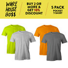 5 PACK MENS CASUAL POCKET T SHIRT SHORT SLEEVE SHIRTS PLAIN COTTON TEE URBAN USA image