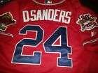 Brand New Atlanta Braves 24 Deion Sanders Majestic WS all sewn Jersey Red Mens