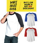 MENS CASUAL BASEBALL T SHIRT RAGLAN SHIRTS 3/4 SLEEVE TEE TWO-TONED EVENTS PARTY image