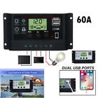 LCD 60A Solar Charger Controller PWM Dual USB Charge Regulator Panel 12/24V