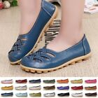 Women's Ladies Soft Leather Work Casual Ballet Slip On Loafer Flat Driving Shoes