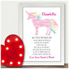 Personalised Will You Be Our Flower Girl Unicorn Poem Bridesmaid Wedding Gifts