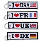 Embroidered Key Chain Luggage Tag Keychain Embroidery Luggage Tag USA UK DE FR