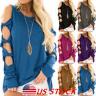 Women Long Sleeve Cut Out Cold Shoulder Tops Loose Casual Blouse Shirts Pullover