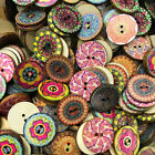 100Pcs Natural Wood Buttons Colorful Flower Pattern 2 Holes Sewing DIY Kit Mixed