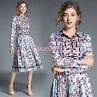 2018 Women Floral Long Sleeve Pleated Tunic Button Frong Swing Fashion New Dress