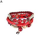 UK_ FM- Women's Vintage Boho Ethnic Beaded Multi-row Bracelet Handmade Bangle Gi