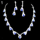 UK_ Prom Wedding Party Bridal Jewelry Diamante Crystal Necklace Earrings Sets Ex