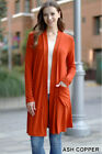 Womens Slouchy Cardigan Open Front Draped Pockets Midi Sweater Jacket S M L XL