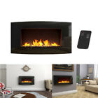Wall Mounted Electric Fireplace Glass Heater Fire Remote Control Home Decor NEW