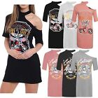Ladies Rock Style Long T-Shirt Born To Be Wild Vintage Print Slash Shoulder Tops