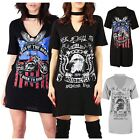 Ladies Kings of The Road Rock N Roll Choker Neck Slogan Print Vintage Mini Dress