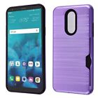 For LG Stylo 4 Hybrid Rubber Rugged Hard Card Slot Wallet Case Protective Cover