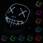 2018 Smiling Stitched LED Light Up Mask El Wire Halloween Rave Cosplay