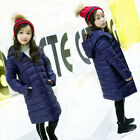 Winter Kids Girl Long Padded Coat Quilted Jacket Puffer Hooded Parka Lightweight