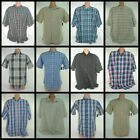 Basic Edition Mens Button Front Shirt Short Sleeve Plaid Solid Top