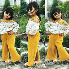 Fashion Kids Baby Girls Strap Floral Tops Loose Pants Outfits Set Clothes 1-6T