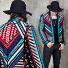 NewStylish Mens Fashion Outer Outwear Colorful Embroidered Open Blazer