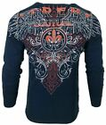 Xtreme Couture by AFFLICTION Men THERMAL T-Shirt RIVETER Biker Wings MMA Gym $58 image