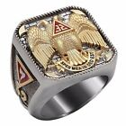 Scottish Rite 32 Degree Masonic Ring Gold 18K Pld Knights Templar by UNIQABLE