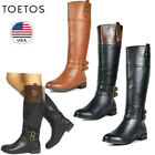 TOETOS Women's Low Heel Side Zipper Knee High Winter Riding Boots (Wide Calf)